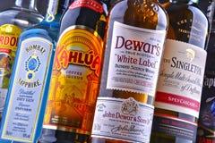 Garrafas de tipos globais sortidos do licor duro Imagens de Stock Royalty Free