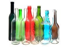 Garrafas de vidro da cor vazia Imagens de Stock