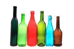 Garrafas de vidro da cor vazia Fotografia de Stock