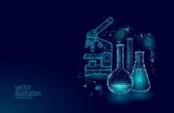 Garrafas de vidro químicas da baixa ciência poli Pesquisa de incandescência azul do triângulo poligonal mágico da lente zoom do m ilustração stock