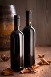 Garrafas de vinho com folhas caídas Fotos de Stock Royalty Free