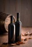 Garrafas de vinho com folhas caídas Foto de Stock Royalty Free