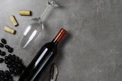 Garrafas de vinho, copo, corti?a e uvas no fundo concreto Copie o espa?o imagem de stock royalty free