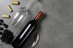 Garrafas de vinho, copo, corti?a e uvas no fundo concreto Copie o espa?o imagens de stock royalty free