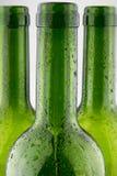 garrafas de vinho verdes vazias no fundo branco Imagens de Stock