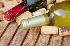 Garrafas de vinho vermelho e branco Fotografia de Stock Royalty Free