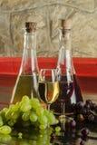 Garrafas de vinho, vidros de vinho e uvas Fotos de Stock Royalty Free