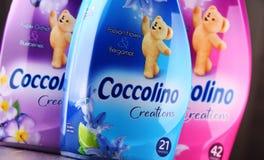 Garrafas do emoliente líquido da tela de Coccolino Fotografia de Stock Royalty Free