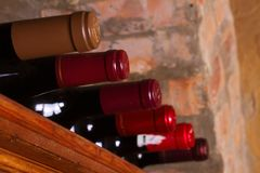 Garrafas do vinho em prateleiras de madeira na adega de vinho Fotografia de Stock