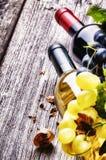 Garrafas do vinho vermelho e branco com uva fresca Foto de Stock