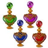 Garrafas do vintage do perfume do ouro na forma do coração ilustração do vetor