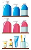 Garrafas e escovas de dentes do champô nas prateleiras ilustração royalty free