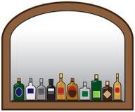 Garrafas e espelho do licor ilustração stock