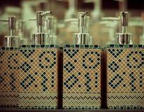 Garrafas para o sabão na loja Foto de Stock Royalty Free
