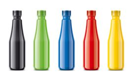 Garrafas para o suco, as bebidas da leiteria e as outro Versão colorida, não transparente ilustração do vetor