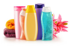 Garrafas plásticas de produtos do cuidado e de beleza do corpo Imagem de Stock