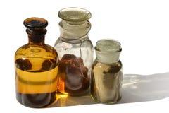 Garrafas químicas em seguido Fotografia de Stock Royalty Free
