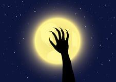 Garras del hombre lobo en un fondo de la Luna Llena Imagen de archivo libre de regalías