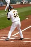 Garrett Jones of the Pittsburgh Pirates. Garrett Jones  of the Pittsburgh Pirates looks at a pitch against the Cincinnati Reds Royalty Free Stock Photo