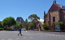 Garrison Church an den Felsen in Sydney, Australien Stockbild