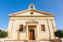 Garrison Church en los jardines superiores de Barrakka Foto de archivo