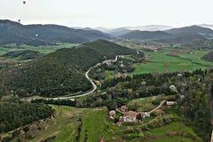 Garrotxa希罗纳的全景天线 库存照片
