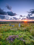 Garrow Tor on Bodmin Moor. Standing stones - the remains of a neolithic hut circle at Garrow Tor a remote part of Bodmin Moor in Cornwall Royalty Free Stock Photos