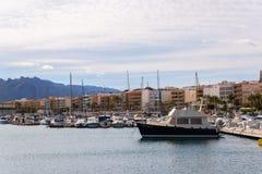 GARRUCHA, SPAIN - JANUARY 23, 2019 Luxury boats in marina bay Garrucha, Costa Almeria, Spain stock image