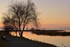 Garry Point Park winter sunset Royalty Free Stock Image