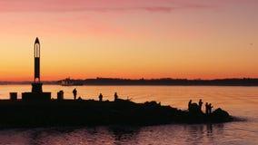 Garry Point Sunrise Fishing, Richmond 4K UHD banque de vidéos
