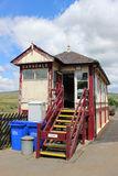 Garsdale järnväg signalask Cumbria England Arkivbild