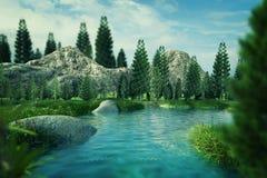 Garten 3D mit Felsen