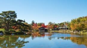 Garten der japanischen Art unter blauem Himmel im Herbst Lizenzfreies Stockbild