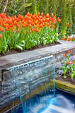 Garten der Tulpen und des Wasserfalls Stockfotos