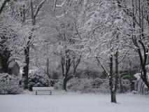 Garten in der Winter-Einstellung Stockfoto
