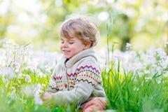 Garten des Kinderjungen im Frühjahr mit blühenden Blumen Lizenzfreies Stockbild