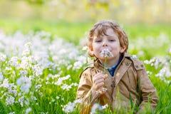 Garten des Kinderjungen im Frühjahr mit blühenden Blumen Stockbild