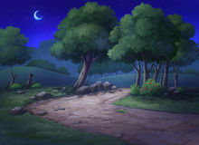 Garten haben einen Hügel und Bäume nachts Lizenzfreies Stockbild
