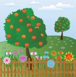 Garten hinter einem Zaun Stockbild