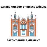 Garten-Königreich von Dessau-Worlitz, Linie Ikone, Vektorillustration Sachsens-Anhalt, Deutschland Garten-Königreich von Dessau vektor abbildung