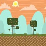 Garten-Spielhintergrund des Vektors seamnless Wald Stockfoto