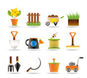Garten- und Gartenarbeithilfsmittelikonen Stockfotos