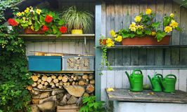 Garten verschüttet mit Blumen und Holz Stockbild