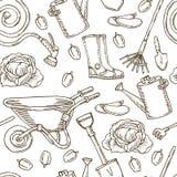 Garten-Werkzeuge und Gemüse Muster für die Färbung lizenzfreie abbildung