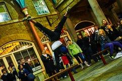 Garten-Zirkusausführender Londons Covent nachts vom niedrigen Stand Stockbild