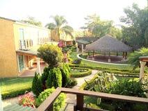 Gartenansicht vom Balkon Stockfoto