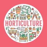Gartenarbeit, Gartenbaufahne mit Vektorlinie Ikone pflanzend Gartengeräte, organische Samen, grünes Haus, pruners stock abbildung