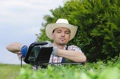 Gartenarbeit, Hecke schneiden lizenzfreie stockbilder