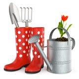 Gartenarbeit-Hilfsmittel auf weißem Hintergrund Stockfoto