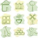 Gartenarbeit (Ikonen) Stockbilder